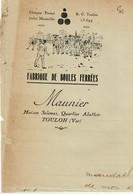 BOULES PETANQUE FANNY Lettre De La Fabrique De Boules Ferrées Maunier 1931 - France