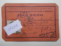 Document Carte Eleve Ecole Régionale Architecture Grenoble 1937 à 1944 (53/54) - Vieux Papiers