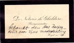 Visitekaartje - Carte Visite - Notaris De Gheldere - Burgemeester Heist Aan Zee - Cartes De Visite