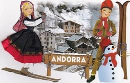 CARTE BRODEE:  ANDORRA  Sous La Neige - Brodées