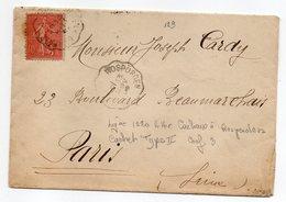 """1908-lettre Pour PARIS--type Semeuse-cachets Ambulant Ou Convoyeur """"Carhaix à Rosporden""""........à Saisir - Storia Postale"""