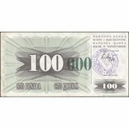 TWN - BOSNIA-HERZEGOVINA 56i - 100.000 Dinara 1993 (1992) Handstamp Date 24.12.1993 - SARAJEVO - Tall Green Zeroes VF - Bosnie-Herzegovine