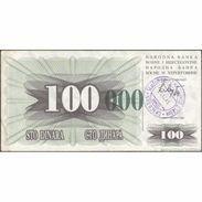 TWN - BOSNIA-HERZEGOVINA 56i - 100.000 Dinara 1993 (1992) Handstamp Date 24.12.1993 - SARAJEVO - Tall Green Zeroes VF - Bosnia Erzegovina