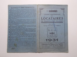 Document Carte Adhérent Union Confédérale Locataires France Et Colonies 1931 (63/64) - Vieux Papiers