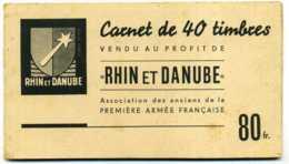 """Carnet De Timbres """"Rhin Et Danube"""" Première Armée Française - Reste 21 Timbres - Militaria"""