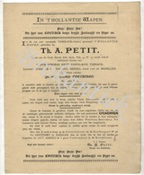 In 'T HOLLANTSE WAPEN   Th.A.PETIT   AMSTERDAM  Folder/publiciteit  In Oud Nederlands  Voor Tabak-cigaren Etc. 18901900 - Nederland