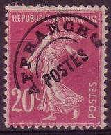 "PREOBLITERES - 1922: Semeuse Fond Plein 20c Lilas-rose Surchagée ""AFFRANCH POSTES"" N° Préo 55* - 1893-1947"