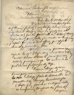 LEONARD IRMINGER COLOMBIER SUISSE Réclamation Sur La Facture Et Commande à PLAIDEAU Fils Ainé MENIN 12 Mai 1837 - Suisse