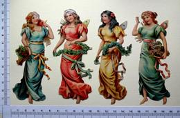 4 CHROMOS    DECOUPIS.....FEMMES . ANGES AVEC UNE GUIRLANDE DE FLEURS - Anges