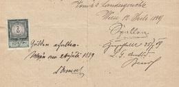 (4Scan) DOKUMENT 1889 - Brief? Handgeschriebenes Dokument Mit 7 Kreuzer Stempelmarke, Datiert Wien 1889, A3 Format ... - Historische Dokumente