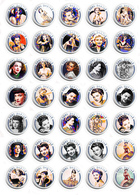 35 X Anne Baxter Film Fan ART BADGE BUTTON PIN SET  (1inch/25mm Diameter) - Films