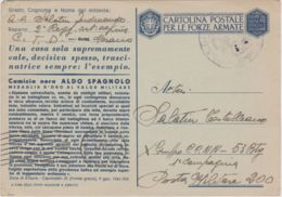1942 CARTOLINA FRANCHIGIA M.O.  Aldo Spagnolo Viaggiata - 1900-44 Vittorio Emanuele III