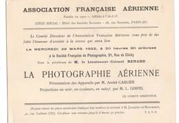 """AVIATION: Asociation Française Aérienne- Mars 1922 . Thème  """"la Photographie Aérienne"""" - Vieux Papiers"""