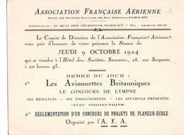 """AVIATION: Asociation Française Aérienne- Mars 1922 . Thème  """"les Avionettes Britanniques, Projet Planeur école"""" - Vieux Papiers"""