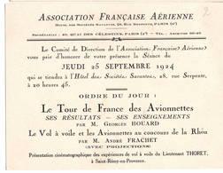 """AVIATION: Asociation Française Aérienne- Sept 1924 . Thème  """"le Tour De France Des Avionnettes"""" - Vieux Papiers"""