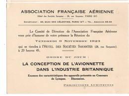 """AVIATION: Asociation Française Aérienne- Nov 1923 . Thème  """"lla Conception De L'avionnette Ds L'industrie Britannique"""" - Vieux Papiers"""