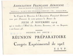 """AVIATION: Asociation Française Aérienne- Nov 1924 . Thème  """"reunion Préparatoire Au Congrès Expérimental...."""" - Vieux Papiers"""