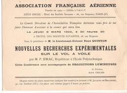 """AVIATION: Asociation Française Aérienne- Mars 1922 . Thème  """"nouvelles Recherches Expérimentales Sur Le Vol à Voile."""" - Vieux Papiers"""