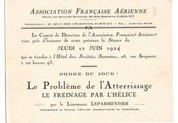 """AVIATION: Asociation Française Aérienne-juin 1924 . Thème  """"problème De L'attérrissage- Le Freinage Par L'hélice."""" - Vieux Papiers"""