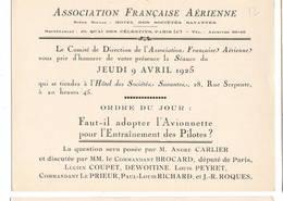 """AVIATION: Asociation Française Aérienne-j  Avril 1925 . Thème  """"avionnette Et Entrainement Des Pilotes."""" - Vieux Papiers"""