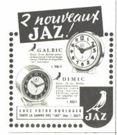 """PUB REVEIL  """" GALBIC Et  DIMIC """" De """" JAZ """"  1955 (1) - Alarm Clocks"""