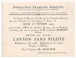 """AVIATION: Asociation Française Aérienne-fev 1924 . Thème  """"l'avion Sans Pilote."""" - Vieux Papiers"""