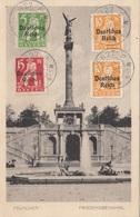 RRR! MÜNCHEN - Friedensdenkmal, Karte Gel.1920, Seltene 4 Fach Frankierung Auf Vorderseite - München