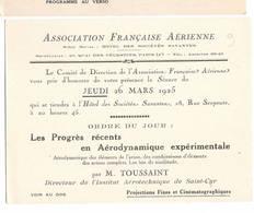 """AVIATION: Asociation Française Aérienne-mars 1925 . Thème  """"progrès Récents En Aérodynamique Expérimentale""""."""" - Vieux Papiers"""