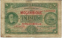 Nota 1 Escudo 1-1921 Moçambique (s/ Decreto) - Mozambique