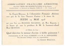 """AVIATION: Asociation Française Aérienne-mai 1923 . Thème  """"moteur D'avion à Faible Puissance."""" - Vieux Papiers"""