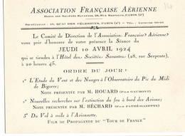 """AVIATION: Asociation Française Aérienne-avril 1924 . Thème  """"étude Du Vent Et Des Nuages Pic Du Midi......."""" - Vieux Papiers"""