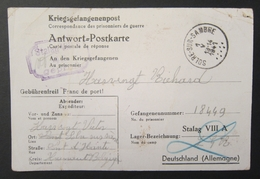 WW2 1941 Kriegsgefangenenpost - Correspondance Prisonniers De Guerre Réponse Censure Stalag VIII A Pour Solré Sur Sambre - Postmark Collection (Covers)