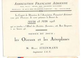 """AVIATION: Asociation Française Aérienne- Juin 1925 . Thème  """"les Oiseaux Et Es Aéroplanes.."""" - Vieux Papiers"""