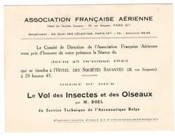 """AVIATION: Asociation Française Aérienne- Oct 1923 . Thème  """"le Vol Des Insectes Et Des Oiseaux."""" - Vieux Papiers"""