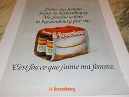 ANCIENNE  PUBLICITE J AIME MA FEMME KRONENBOURG 1968 - Alcools