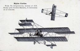 BIPLAN CURTISS - Poids 350 Kilogramms, Moteur 25 HP. Reims (prix Gordon-Benett), 30 Kilometres En 23 Minutes - ....-1914: Vorläufer