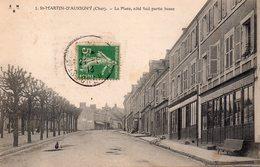 CPA, Saint-Martin-d'Aubigny, La Place Coté Sud, Partie Basse, Commerce - Autres Communes