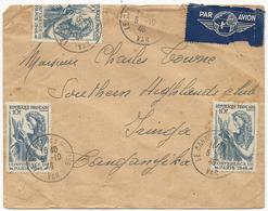 LETTRE PAR AVION 1946 POUR LE TANGANYIKA AVEC 3 TIMBRES CONFERENCE DE PARIS - Postmark Collection (Covers)