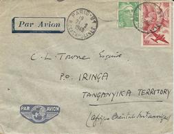 LETTRE PAR AVION 1949 POUR LE TANGANYIKA AVEC 2 TIMBRES POSTE AERIENNE / MARIANNE DE GANDON - Postmark Collection (Covers)