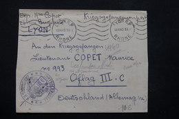 FRANCE - Enveloppe En FM De Lyon Pour Prisonnier Au Oflag IIIC Avec Contrôle Postal En 1940 - L 22161 - Storia Postale