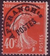 France Préoblitéré N° 64 Type Semeuse Fond Plein : 40 C. Vermillon - NEUF* Avec Trace De Charnière - 1893-1947
