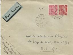 LETTRE PAR AVION 1940 POUR LE SECTEUR POSTAL 701 AVEC 2 TIMBRES TYPE MERCURE - Postmark Collection (Covers)