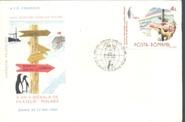 75932- POLAR ZONES PROTECTION YEAR, PENGUIN, BASES, EVENTS, POLAR PHILATELY, SPECIAL COVER, 1990, ROMANIA - Events & Commemorations