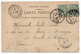 1903--CPA  De NICE-Envoi De NIMES-30--pour EGRISELLES LE BOCAGE-89--cachets Jumelés Daguin--type Blanc --cachets - Storia Postale