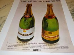 ANCIENNE PUBLICITE LE CHAMPAGNE MERCIER 1968 - Alcools
