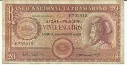 Nota 20 Escudos 20-11-1958 S. Tomé - Sao Tomé Et Principe