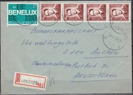 1651 (4) Met Stempel Carnieres Op Aangetekende Brief Duitsland - 1953-1972 Lunettes