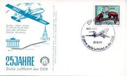 """(DDR-B1) DDR Sonderkarte """"25 Jahre Zivile Luftfahrt Der DDR"""", EF Mi 2523 SSt. 20.9.1980 DRESDEN 1 - Briefe U. Dokumente"""