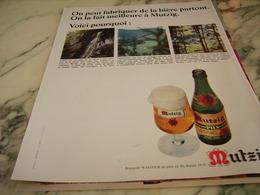 ANCIENNE PUBLICITE LA NATURE BIERE MUTZIG  1968 - Alcools