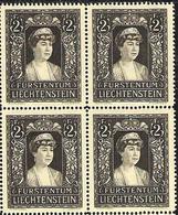 Liechtenstein 1947: Trauermarke Fürstin Elsa (*1875) Zu 216 Mi 256 Yv 231 Block ** Postfrisch MNH (Zumstein CHF 28.00) - Liechtenstein